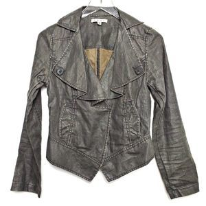 Cabi Waxed Linen Moto Jacket XS Black Distressed
